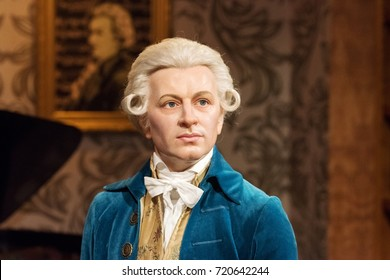 ISTANBUL, TURKEY - MARCH 16, 2017: Wolfgang Amadeus Mozart wax figure at Madame Tussauds  museum in Istanbul.