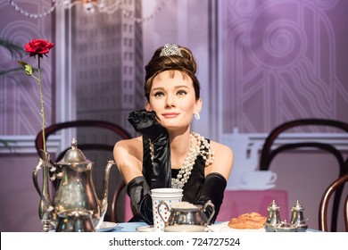 ISTANBUL, TURKEY - MARCH 16, 2017: Audrey Hepburn wax figure at Madame Tussauds museum in Istanbul. Audrey Hepburn (Audrey Kathleen Ruston) was a British actress, model  recognized as a fashion icon.