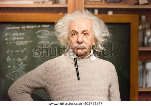 ISTANBUL, TURKEY - MARCH 16, 2017: Albert Einstein  wax figure at Madame Tussauds museum in Istanbul. Albert Einstein was a physicist who developed the general theory of relativity.