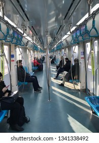 ISTANBUL, TURKEY- MARCH 16, 2019: Marmaray Gebze-Halkali station. Subway that goes Asia to Europe side under Bosphorus.