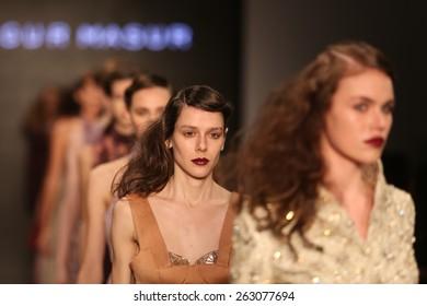 ISTANBUL, TURKEY - MARCH 17, 2015: Models showcase the latest creations by Ozgur Masur in Mercedes-Benz Fashion Week Istanbul