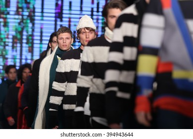 ISTANBUL, TURKEY - MARCH 17, 2016: Models showcase the latest creations of Brand Who in Mercedes-Benz Fashion Week Istanbul