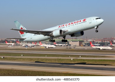 ISTANBUL, TURKEY - MARCH 18, 2014: Boeing 767-375(ER) C-GEOU of Air Canada airlines taking off at Ataturk international airport.