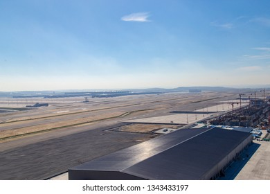 Istanbul, Turkey: March 19, 2019: Parallel runways view from Istanbul New airport