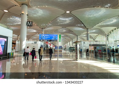 Istanbul, Turkey: March 19, 2019: General terminal view from The Istanbul New Airport
