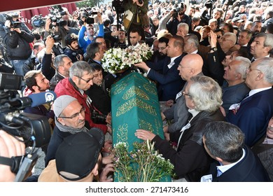 ISTANBUL, TURKEY - MARCH  2:  Famous Turkish novelist Yasar Kemal's  funeral on March  2, 2015 in Istanbul, Turkey.