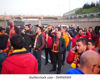 Istanbul, Turkey - March 20, 2016: Angry Galatasaray fans chant after their match with Fenerbahce is postponed due to a bomb threat.