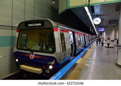 Istanbul, Turkey - March 20, 2017: Istanbul modern transport, metro station - Passengers waiting at train station in metro