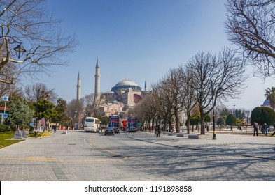 Istanbul, Turkey - March 2012: Exterior view of Hagia Sophia (Ayasofya). It is the former Greek Orthodox Christian patriarchal cathedral, later an Ottoman imperial mosque and now a museum in Istanbul.