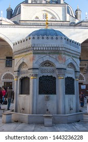 Istanbul - Turkey: March 2019. Ablution fountain in the courtyard of The Yeni Valide Mosque (Cami) in the Uskudar district. Islamic arts and architecture.
