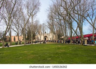 Istanbul - Turkey: March 2019. Courtyard of Topkapi Palace. Tourists visiting Topkapi Palace Museum
