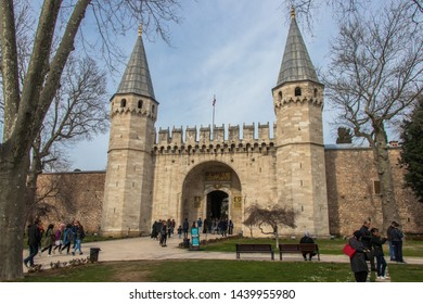 Istanbul, Turkey - March 2019: The gate of Topkapi Palace. Tourists entering the Gate of Salutation of Topkapi Palace