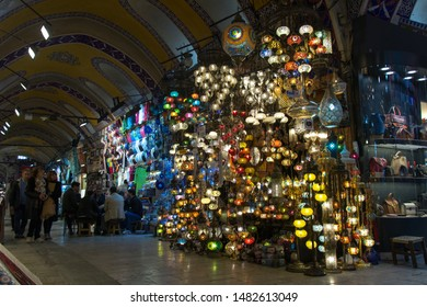 Istanbul - Turkey: March 2019. Mosaic Ottoman lamps from Grand Bazaar in Istanbu. Various old lamps on the Grand Bazaar.