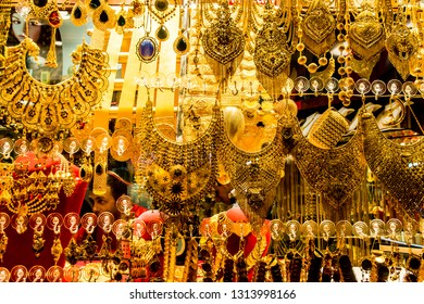 Istanbul, Turkey - March 21 2014: Golden bracelets and necklaces jewleries sold in Grand Bazaar in Istanbul