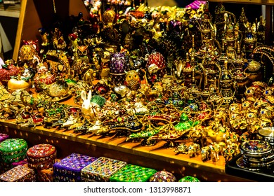 Istanbul, Turkey - March 21 2014: Shimmering jewleries sold in Grand Bazaar in Istanbul