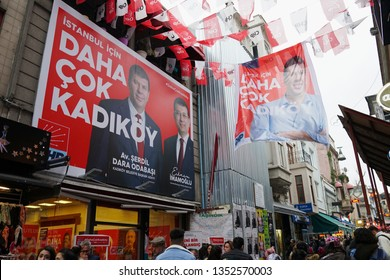 Istanbul, Turkey - March 21, 2019 : People are passing by the election office and Chp banners at Kadikoy District. Municipal elections will be make at The Turkey in March 31.
