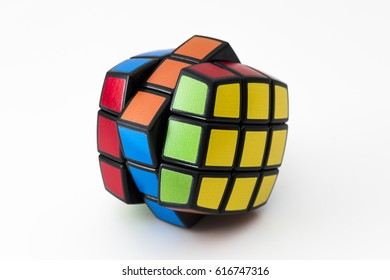ISTANBUL - TURKEY - MARCH 24, 2017: Rubik's cube on the white background. Rubik's Cube on a white background. Rubik's Cube invented by a Hungarian architect Erno Rubik in 1974.
