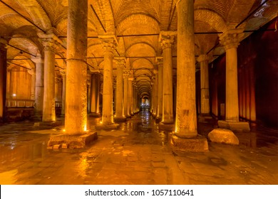 Istanbul, Turkey - March 24, 2018. Underground Basilica Cistern (Yerebatan Sarnici), one of the largest ancient cisterns that lie beneath the city Istanbul, was built in the 6th century