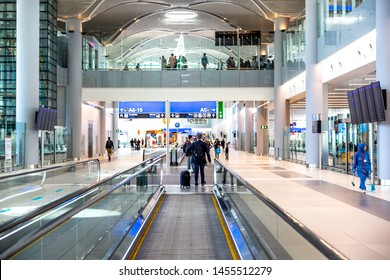 Istanbul, Turkey - March 24, 2019: New Istanbul Airport. The interior of New Airport Terminal in Istanbul.