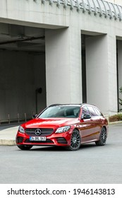 Istanbul, Turkey - March 26 2021: Mercedes-Benz C-Class is a line of compact executive cars produced by Daimler AG. This is the C200d Estate model.