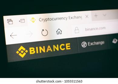 ISTANBUL, TURKEY, MARCH 27, 2018: Screenshot from Binance website, Binance is an international multi-language cryptocurrency exchange.