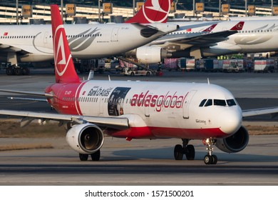 Istanbul / Turkey - March 27, 2019: AtlasGlobal special sticker Airbus A321 TC-ATF passenger plane departure at Istanbul Ataturk Airport