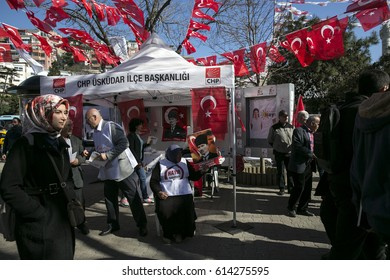 Istanbul Turkey March 28, 2017 CHP The Republican People`s Party supporters work for No campaign  in Uskudar, Istanbul.