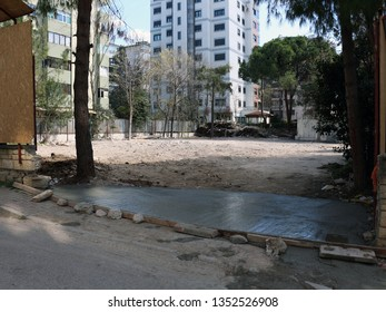 Istanbul / Turkey - March 28, 2019: Empty lot of a demolished Apartman for Urban Gentrification. -