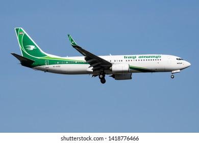 ISTANBUL / TURKEY - MARCH 28, 2019: Iraqi Airways Boeing 737-800 YI-ASU passenger plane landing at Istanbul Ataturk Airport