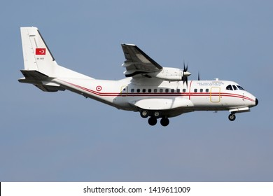 ISTANBUL / TURKEY - MARCH 28, 2019: Turkish Air Force CASA CN-235 94-068 military transport plane plane landing at Istanbul Ataturk Airport