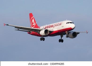 Istanbul / Turkey - March 28, 2019: Atlasglobal Airbus A319 TC-ATD passenger plane landing at Istanbul Ataturk Airport