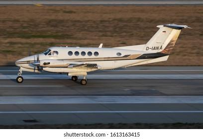 Istanbul / Turkey - March 28, 2019: Dix Aviation  Beechcraft B200 Super King Air D-IANA aircraft departure at Istanbul Ataturk Airport