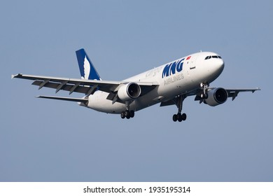 Istanbul, Turkey - March 28, 2019: MNG Airlines Airbus A300 TC-MCG cargo plane arrival and landing at Istanbul Ataturk Airport