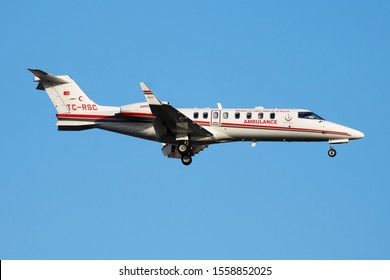 Istanbul / Turkey - March 29, 2019: Turkish Ministry of Health Learjet 45 business medical jet plane arrival and landing at Istanbul Ataturk Airport