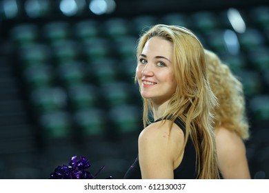 ISTANBUL, TURKEY - MARCH 3, 2017: Red Foxes Olympic dance team. Cheerleaders practice before Turkish Airlines EuroLeague match Darussafaka vs Panathinaikos.