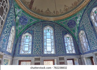 ISTANBUL, TURKEY, MARCH 30, 2015: Topkapi Palace, ceiling decorations
