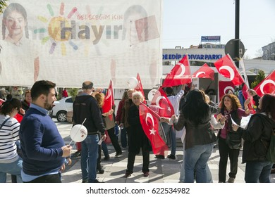 Istanbul, Turkey - March 30, 2017: Civilians in Avcilar district promoting NO (Hayir in Turkish) for the Turkish referendum on April 16. The referendum is for the constitutional change in Turkey.