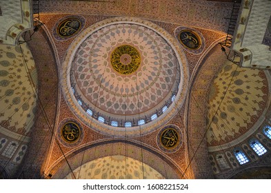 ISTANBUL, TURKEY - MARCH 5, 2014: Interior of the Sultan Ahmed Mosque (Blue Mosque). The mosque was built in 1609-1616 by design of architect Sedefkar Mehmed Agha during the rule of sultan Ahmed I.