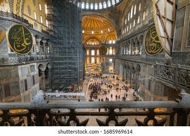 ISTANBUL, TURKEY - MARCH 6th 2020:The Hagia Sophia (The Church of the Holy Wisdom or Ayasofya) Byzantine landmark and world wonder in Istanbul, Turkey, interior view from the upper gallery