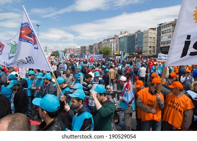 ISTANBUL, TURKEY - MAY 01, 2014: Unions gathered in Kadikoy to celebrate International Workers' Day.