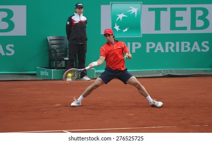 ISTANBUL, TURKEY - MAY 01, 2015: Uruguayan player Pablo Cuevas in action during quarter final match against Brazilian player Thomaz Bellucci in TEB BNP Paribas Istanbul Open 2015