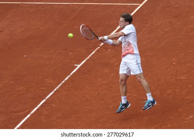 ISTANBUL, TURKEY - MAY 01, 2015: Argentine player Diego Schwartzman in action during quarter final match against Colombian player Santiago Giraldo in TEB BNP Paribas Istanbul Open 2015