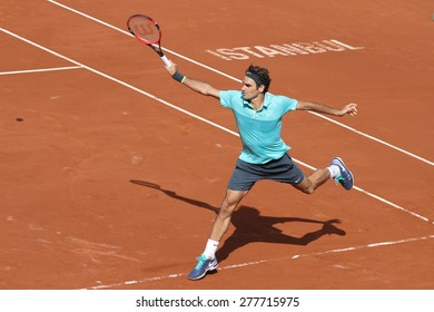 ISTANBUL, TURKEY - MAY 01, 2015: Swiss player Roger Federer in action during quarter final match against Spanish player Daniel Gimeno-Traver in TEB BNP Paribas Istanbul Open 2015