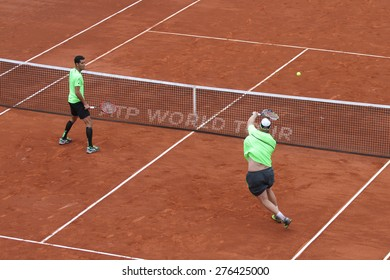 ISTANBUL, TURKEY - MAY 02, 2015: Dusan Lajovic and Radu Albot against Chris Guccione and Andre Sa in doubles semi-final match of TEB BNP Paribas Istanbul Open 2015