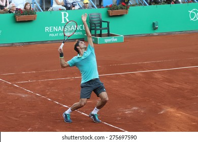 ISTANBUL, TURKEY - MAY 03, 2015: Swiss player Roger Federer in action during final match against Uruguayan player Pablo Cuevas in TEB BNP Paribas Istanbul Open 2015