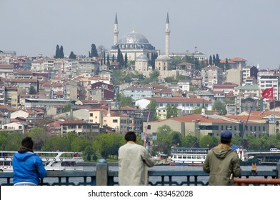 ISTANBUL, TURKEY - MAY 04, 2009: Partial view of the city of Istanbul from the Galata Bridge
