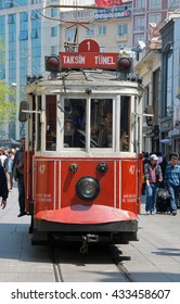 ISTANBUL, TURKEY - MAY 04, 2009: Old tram circulating in Beyoglu in Istanbul city