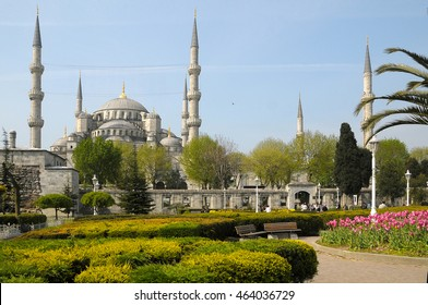 ISTANBUL, TURKEY - MAY 04, 2009: Gardens and view of the Blue Mosque and minarets