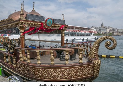 ISTANBUL, TURKEY - MAY 04, 2009: Decorated boats , turned into restaurants on the banks of the Bosphorus river