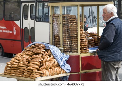 ISTANBUL, TURKEY - MAY 04, 2009: Selling bread in the streets of the city